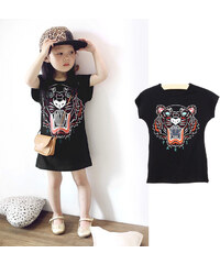 Lesara Kinder-T-Shirt-Kleid mit Tiger-Print - 122