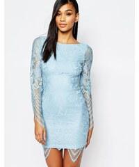 Rare - Kleid aus Spitze mit Muschelsaum - Blau