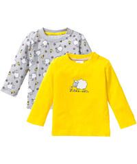 bpc bonprix collection Lot de 2 T-shirts bébé à manches longues en coton bio, T. 44/50-80/86 jaune enfant - bonprix