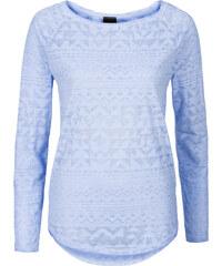 BODYFLIRT T-shirt imprimé bleu manches longues femme - bonprix