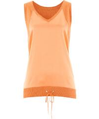 bpc selection premium Top en maille Premium avec empiècement tissé orange sans manches femme - bonprix