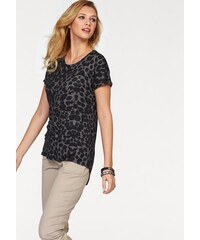 Tamaris Damen Shirt Kurzarm mit Leo-Print und Nieten grau 34,36,38,40,42,44,46