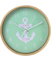 Hama Wanduhr geräuscharme Uhr ohne Ticken, leise, 26 cm, Holz »Anker mit Aufschrift Love/Hope«