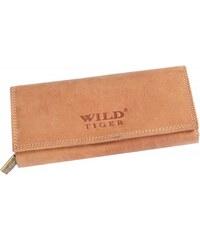 Dámská kožená peněženka Wild Tiger AD-28-068L, světle hnědá, broušená kůže {name}