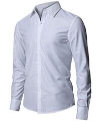Pánská košile s jemným odleskem bílá slim