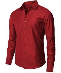 Pánská košile s jemným odleskem červená slim