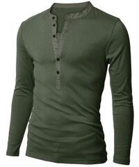 Pánské tričko Henley s dlouhým rukávem khaki