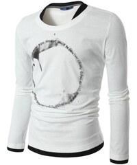 Pánské tričko s kruhovým potiskem bílé
