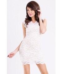 Dámské párty společenské krátké krajkové šaty EMAMODA bílé