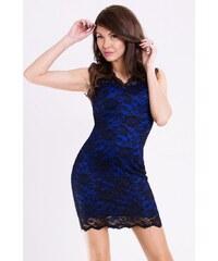 Dámské párty společenské krátké krajkové šaty EMAMODA modré