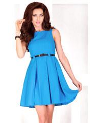 S-a-F Dámské společenské šaty FOLD 67 se sklady a páskem středně dlouhé modré