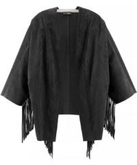 Značkové pončo, bunda pončo ze semišové kůže CINQUE 32 černá