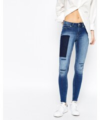 Cheap Monday - Mid Spray - Jean skinny effet vieilli à détail patchwork - Bleu