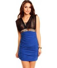 Made in ITALY Dámské společenské a párty šaty ITALY 5226 lehké s šifonovými ramínky modré UNI