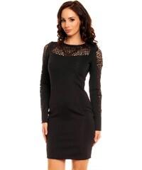Dámské společenské značkové šaty MAYAADI 324 zdobené plastickou krajkou krátké černé