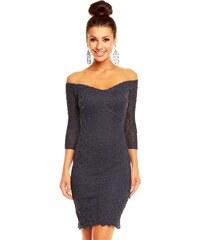 Dámské společenské značkové šaty MAYAADI 338 DG krajkové s 3/4 rukávem krátké tmavě šedé