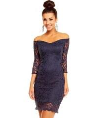 Dámské společenské značkové šaty MAYAADI 338 DB krajkové s 3/4 rukávem krátké tmavě modré