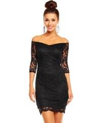 Dámské společenské značkové šaty MAYAADI 338 B krajkové s 3/4 rukávem krátké černé