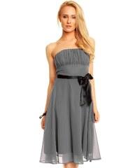 Dámské společenské značkové šaty MAYAADI 181 DG korzetové s mašlí a šifonovou sukní tmavě šedé