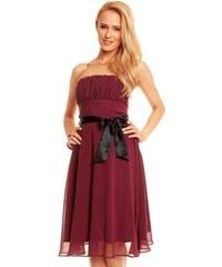 Dámské společenské značkové šaty MAYAADI 181 BO korzetové s mašlí a šifonovou sukní bordó
