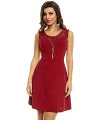 Dámské společenské značkové šaty PARIS ET MOI 1113 BO s krajkovým živůtkem zdobené zipem bordó