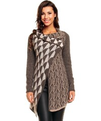 Made in ITALY PONCHO 5055 Dámský moderní vlněný svetr / kabátek hnědo-béžový