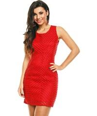 Dámské značkové šaty moderní AIKHA 111086 R s plastickým efektem a síťováním krátké červené