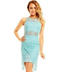 Dámské společenské a párty šaty GRAFFITH 3501 krajkové bez rukávu aqua modré
