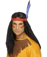 Smiffys Indiánská paruka s čelenkou