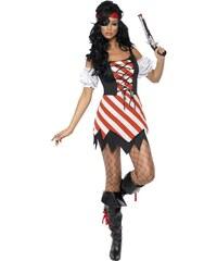 Smiffys Pirátský kostým dámský pruhovaný - M