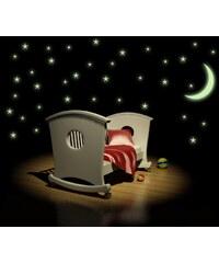 Xdecor SVÍTICÍ hvězdy s měsícem - Samolepka na stěnu