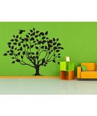 Xdecor Listnatý strom s ptáčky (62 x 50 cm) - Samolepka na stěnu
