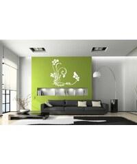 Xdecor Luční kvetiny s motýlky (60 x 57 cm) - Samolepka na zeď