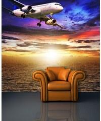 Xdecor Letadlo nad oceánem (126 x 126 cm) - Fototapeta