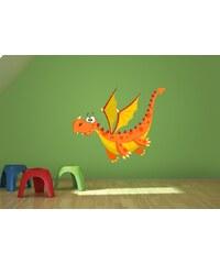 Xdecor Oranžový drak (60 x 49 cm) - Barevná samolepka