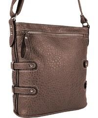Tapple Crossbody kabelka s jemným kroko vzorem 611-2 přírodní hnědá