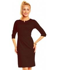 Dámské značkové šaty LENTAL DANUTA s 3/4 rukávem středně dlouhé hnědé