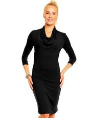 Dámské elegantní značkové šaty LENTAL MONIKA viskózové s vodou a 3/4 rukávem středně dlouhé černé