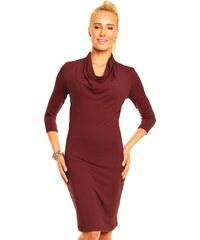 Dámské elegantní značkové šaty LENTAL MONIKA viskózové s vodou a 3/4 rukávem středně dlouhé cherry