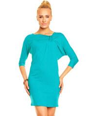 Dámské elegantní značkové šaty / tunika LENTAL EMMA viskózové se zdobením ve výstřihu a 3/4 rukávem krátké mořská zeleň