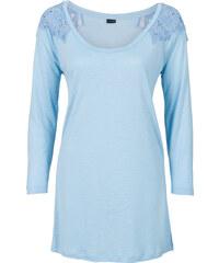 BODYFLIRT T-shirt manches longues à dentelle bleu femme - bonprix