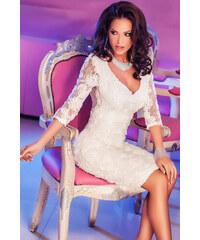Dámské společenské šaty s krajkou midi bílé
