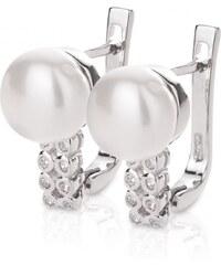 Meucci Stříbrné elegantní náušnice s přirodní perlou a zirkony