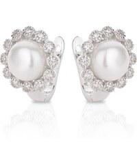 Meucci Stříbrné náušnice s perlou v kytičce zirkonů