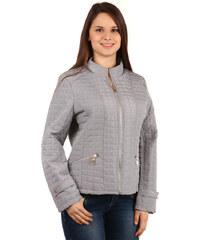TopMode Moderní prošívaná bunda na zip šedá