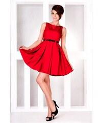 SAF Dámské šaty se skládanou sukní a páskem červené velikost oblečení: XL