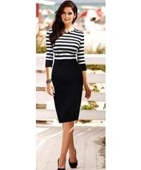 002 Dámské šaty černobílé s proužky