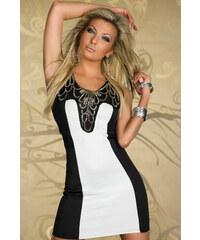 Dámské společenské párty šaty s flitry černobílé