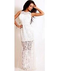 Dámské společenské šaty krajkové bílé maxi