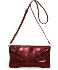 Gretchen Coral Clutch - Burgundy Red Patent